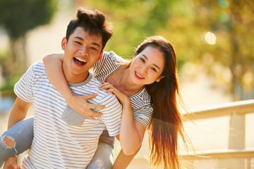 Cheerful boyfriend and girlfriend