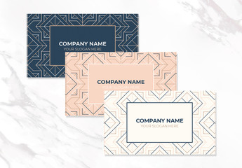 Company Name Card Layouts with Pattern