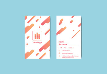 Vertical Business Card Layout with Yellow to Red Gradients