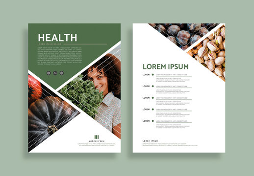 Poster Layout with Green Accents and Triangular Photo Placeholders