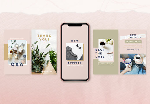 Social Media Story Layouts with Pink and Olive Accents
