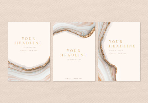 Poster Layouts with Gold Accents and Stone Imagery