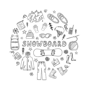 Set of snowboard icons in circle shape isolated on white background. Sport clothes, accessories and equipment. Black and white vector illustration