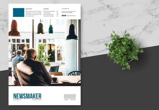 Business Newsletter with Blue Accents