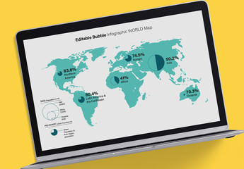 Editable Bubble Infographic World Map Layout