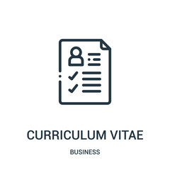 curriculum vitae icon vector from business collection. Thin line curriculum vitae outline icon vector illustration. Linear symbol.