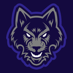 Wolf head logo. Great for sports logotypes and team mascots.