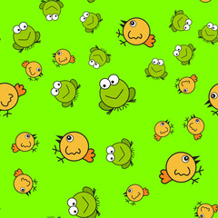 Chickens and frogs seamless pattern in cartoon style