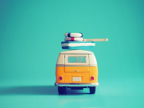 Vintage yellow bus camping with copy space background,summer vacation concept.