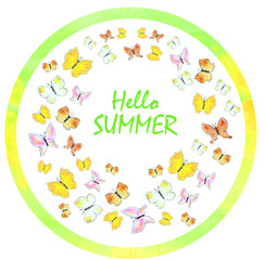 Beautiful hand-drawn summer background. Watercolor colorful butterfly dance.Banner for yout text.