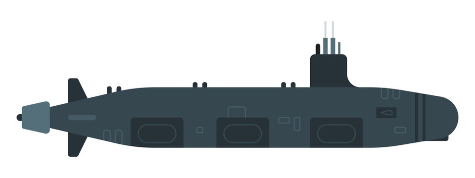 Nuclear submarine vector flat icon isolated