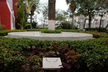A view of a memorial garden for Princess Diana in Havana
