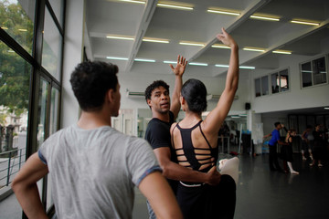 Cuban ballet dancer Carlos Acosta works at his dance studio in Havana