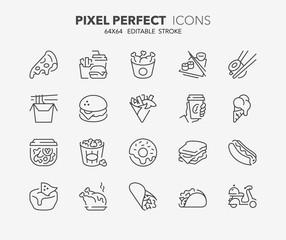 Fototapeta fast food thin line icons obraz