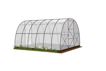 Fototapeta Illustration of a greenhouse, a greenhouse on a white background, for growing plants and vegetables. Vector obraz