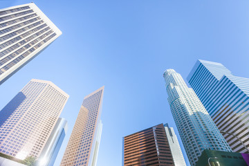 Low angle view on skyscrappers of Los Angeles downtown