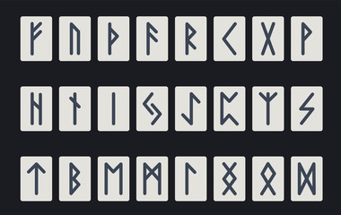 Set of ancient Norse runes. Runic alphabet, Futhark. Ancient occult symbols. Vector illustration. Old Germanic letters on a dark background
