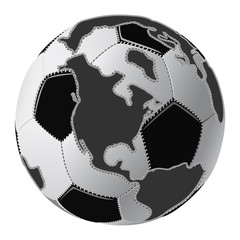 Black & white soccer ball globe with continents