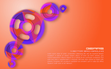 Gears. Abstract background for technical webpage. Vector illustration.