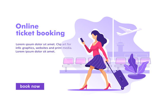 Flight tickets online booking concept. Buying ticket with smartphone. Vector illustration.