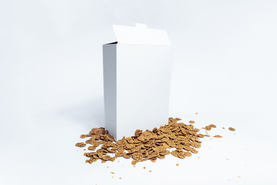 White generic cereal box, studio shot. Blank carton instant breakfast package on white background