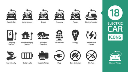 Electric car icon set with charger station, battery power and plug. Electricity vehicle shape pictogram collection.