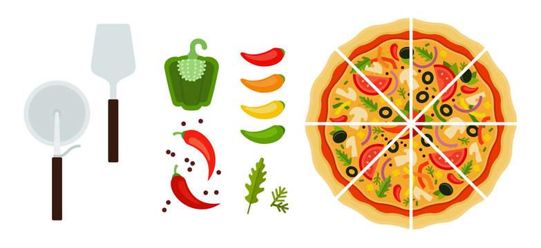 Sliced Mexican pizza with tools and peppers flat icon vector isolated