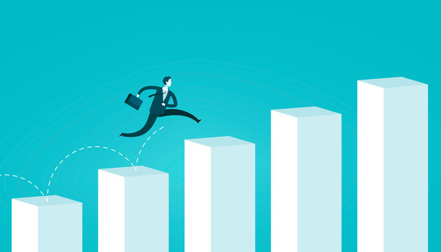 Businessman jumping on chart columns. Successful business concept. Infographics vector illustration