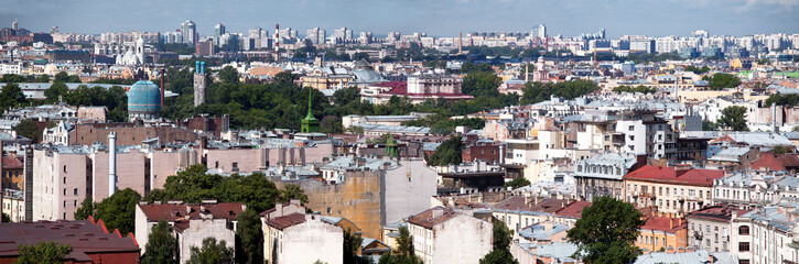 Aerial View Panorama of Petrogradsky District, St. Petersburg, Russia