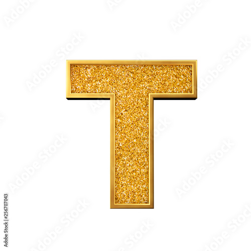Gold glitter letter T  Shiny sparkling golden capital letter