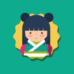 cute traditional japanese kokeshi doll in kimono