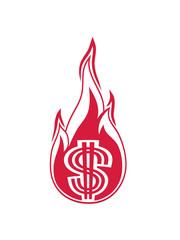 heiß geld verbrennen ausgeben feuer flamme fackel dollar symbol zeichen reich millionär reichtum sparen währung verdienen profit logo design gangster rapper