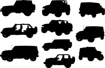 Jeep Silhouette Shape Vector