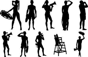 Lifeguard Silhouette Shape Vector