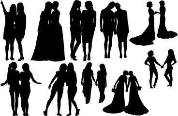 Lesbian Couple Silhouette Shape Vector