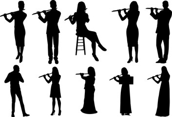 Flute Player Silhouette Shape Vector