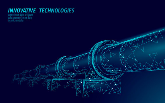 Oil pipeline low poly business concept. Finance economy polygonal petrol production. Petroleum fuel industry transportation line connection dots blue vector illustration