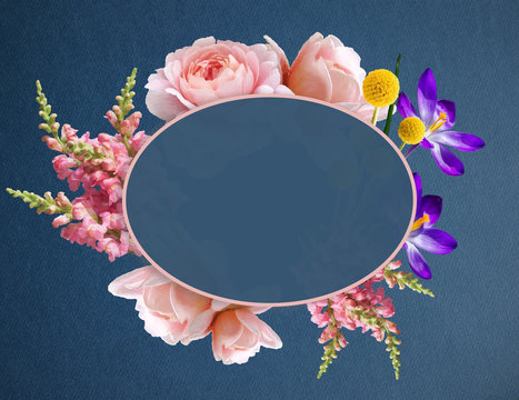 Illustration of a Beautiful Boho Flowers in Banner with Copy Space. Flower Wreath with roses, Crocus and other decorative plants