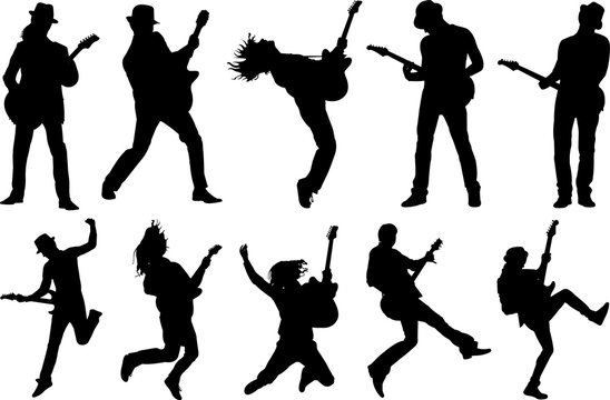 Guitar Player Silhouette Shape Vector