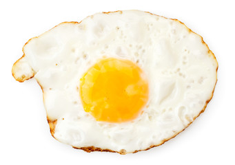 Fried chicken egg on a white. The form of the top.