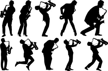 Saxophone Player Silhouette Shape Vector