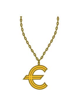halskette schmuck gold euro europa symbol zeichen geld reich millionär reichtum sparen währung verdienen finanzstark stinkreich profit logo design gangster rapper
