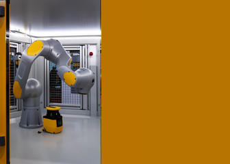 Robot display in metal cage, an industrial robotic arm with copy space