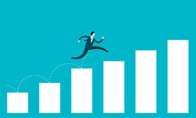 Obraz Business growth concept. Businessman jump over growing chart - fototapety do salonu