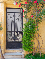 Athens Greece, picturesque house exterior with foliage and red flowers, Anafiotika district in Plaka old neighborhood