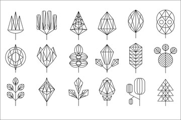 Geometrical leaves and trees big set, collection of graphic design elements vector illustration