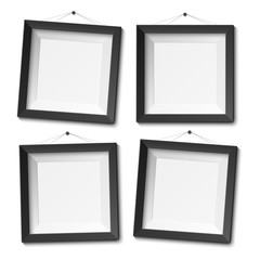 Realistic blank photo frame isolated on white background, vector illustration