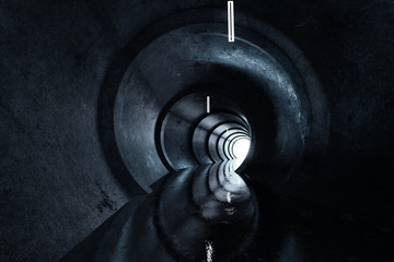 3d rendering of concrete round tunnel with light at the end Wall mural