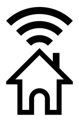 Home wifi symbol icon - black simple outline, isolated - vector