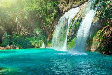 Waterfall, Chiflon Cascades, Chiapas, Mexico Wall mural